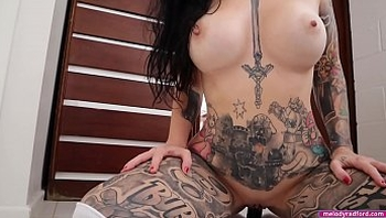 BIG TIT Fat Ass Tattooed Milf Does He First Big Black Dildo Show FUCKING and SUCKING the Shit Out Of It For Her STEP SON - Melody Radford