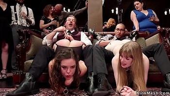 Slaves sucking at bdsm orgy