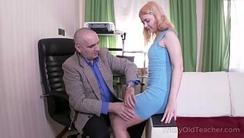 Tricky Old Teacher - Old but tireless teacher satisfies blonde