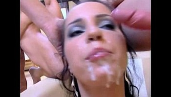 brunette slut bang whore use as meathole - une brune salope defoncee en gangbang