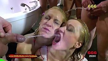 Extreme Pissing Gangbang with two Nasty Babes - 666Bukkake