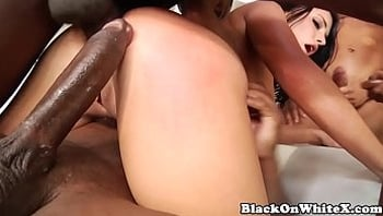 BBC hungry model DPed in interracial gangbang