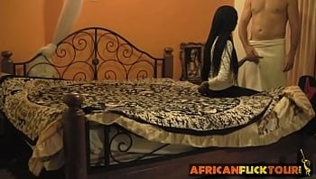 Black amateur African babe riding white cock