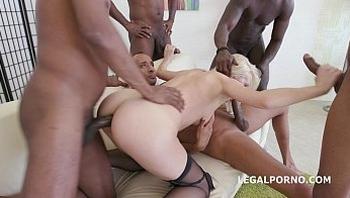 5on1 gangbang - Bree Haze begs for an extra deep interracial double anal