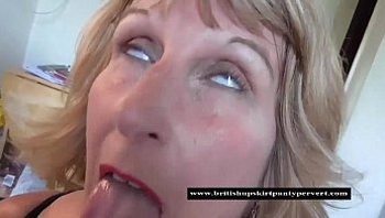 British mature Rosemary swallows a mouthful of cum
