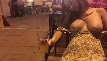 Sexy Drunk Babe Exposing Tits