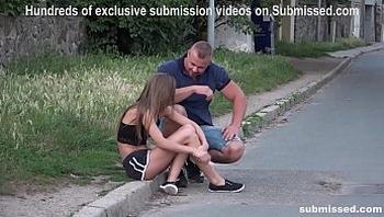 Struggling Babe Sarah Kay street pickup gagged subb