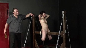 Wooden Horse Punishment of Japanese Mei in whipped dungeon punishment and bdsm