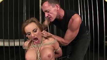 Enslaved woman extremely squirts and enjoys domination. BDSM movie. Hardcore bondage sex.