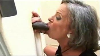 Granny found glory hole