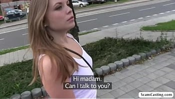 Russian hot chick Alessandra gets fucked by the fake agent in the bushes