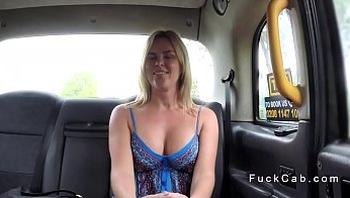 Pervert cab driver bangs busty blonde