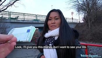 Public Agent Hot Thai beauty fucked hard in horny gas station toilet fuck