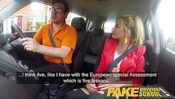 Fake Driving School Blonde busty Polish tight pussy fucked after lesson