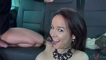 Takevan Stranger convince Brasil babe to come in van and cum on her hairy pussy