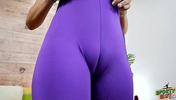 Perfect Cameltoe In Super Thin Bike Leggings and Big Tits