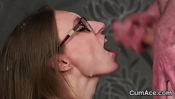 Wicked hottie gets sperm shot on her face sucking all the love juice