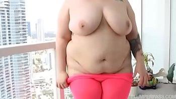 Redhead BBW Gets Fucked on Miami Balcony