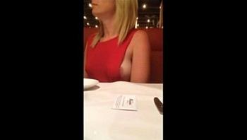 milf show her boobs in restaurant