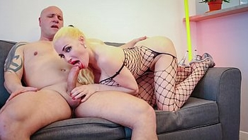 LA NOVICE - Big tits French blonde Eeciahaa in fishnet dick riding