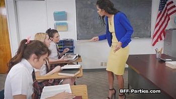 Coeds banging sexy teacher