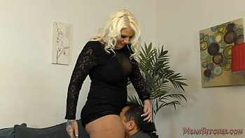 Lucky B Sits on Her Slave