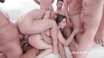 10 on 1 Gang Bang for ultra slut Gabriella Lati   10 Swallows!