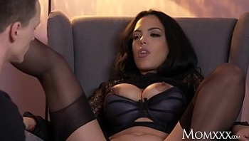 MOM Kinky big tits Latina MILF in stockings suspenders and high heels