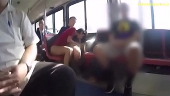 Brunette making a blowjob inside a bus