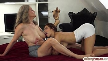 Teen girl Candy Belle sucking granny tits and eats old pussy