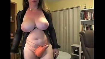 Busty trans jerks off and cum