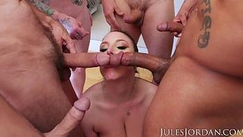 Jules Jordan - Swarmed By 13 Guys Angela White Does Her Biggest Blowbang Ever