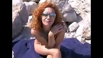 Red wife banged at beach