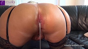 Submissive slut hard Ass fucked by a brutal men horde, including extreme filling with sperm and piss!