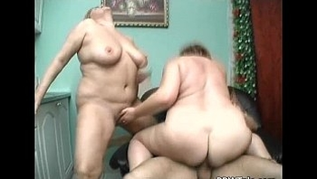 Two fat sluts sharing one cock in the