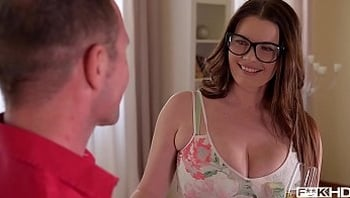 Ultra Hot & Busty Secretary in Glasses Rides a Hard Dick
