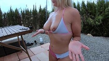I just kept milking and got THREE LOADS on my tits - happy MILF huge Cumshot - YummyCouple