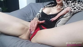 Busty Brunette Angie Masturbating and Panty Stuffing In Sexy Office Look