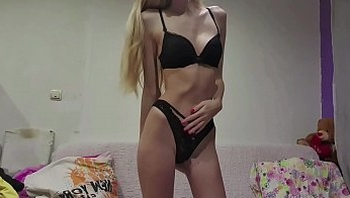 Amateur Sexy Skinny Teen Cums and Squirts , Stockings and Sexy Long Legs