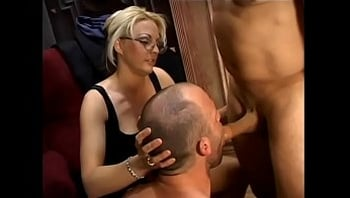 Bi dude and sexy babe Sindy Lange share sucking one huge dick before getting banged