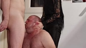 Teen goth domina help her dad to facefuck slave pt2 HD