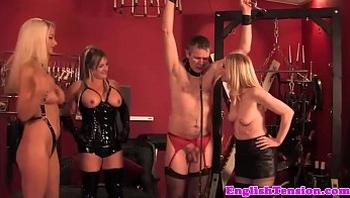 Flogging british femdoms in latex lingerie