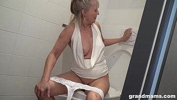 Blonde granny puts toilet brush up young boys asshole