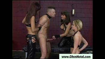 Nasty cfnm femdom bitches make him cum