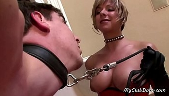 Femdom Slut Plays With Her Slave Boy