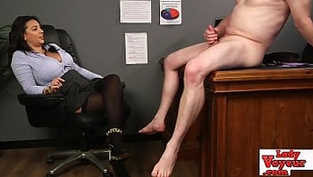 Nasty british femdom chick watching jerk