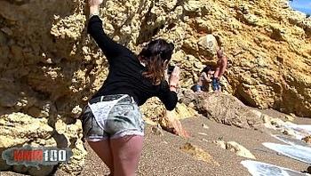 Voyeur girl invites herself into a couple beach fucking party