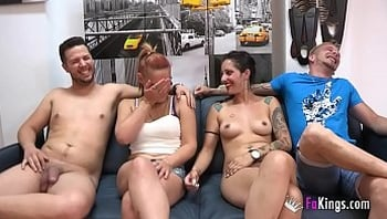 Unexperienced couple enjoys a swinger session with two experienced porn performers