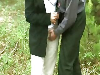Group sex of women and men of all ages outdoors.