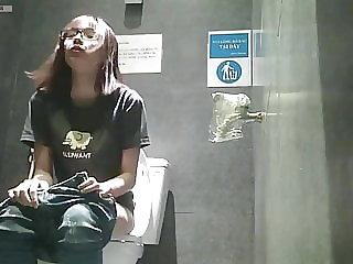 Public toilet masturbation spy camera